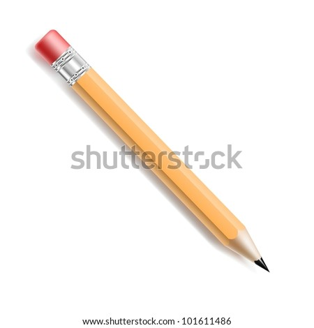 Vector Yellow pencil with red eraser isolated on white