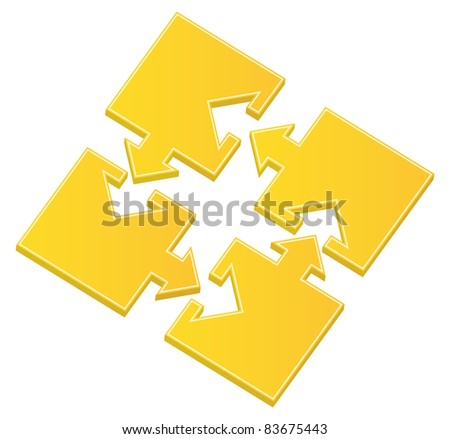 Vector yellow puzzle pieces with arrows