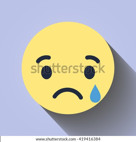 Shutterstock Vector yellow red circle icon. Sad face. Flat style with shadow. Facebook sad face symbol. Facebook new like set. Sad icon