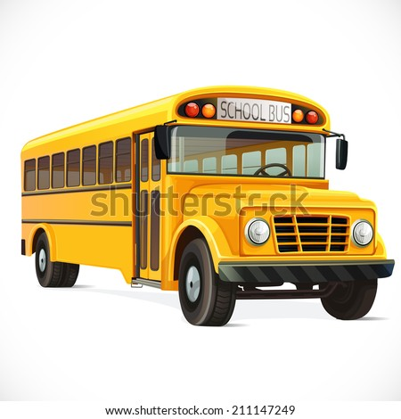 Vector yellow school bus  isolated on white background