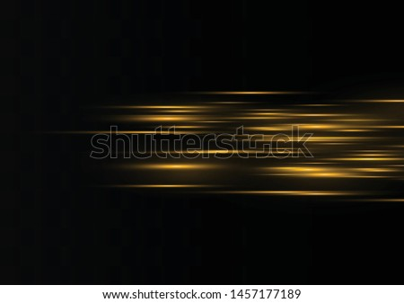 Vector yellow special effect. Luminous stripes on a transparent background. Beautiful glow of glow and spark. Vector background.