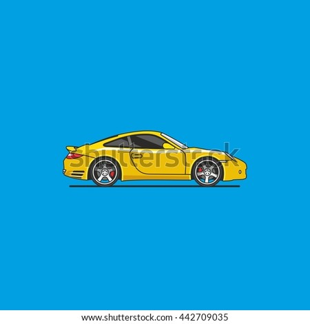 vector yellow sports car