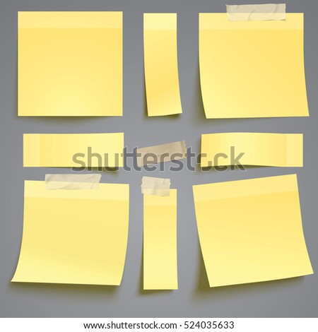 Vector yellow sticky note with adhesive tape isolated on grey background