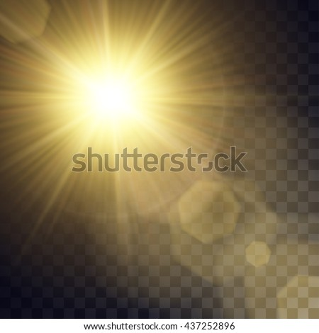 vector yellow sun with light