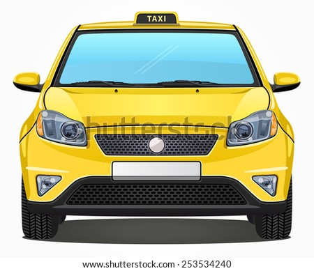 vector yellow taxi car   front