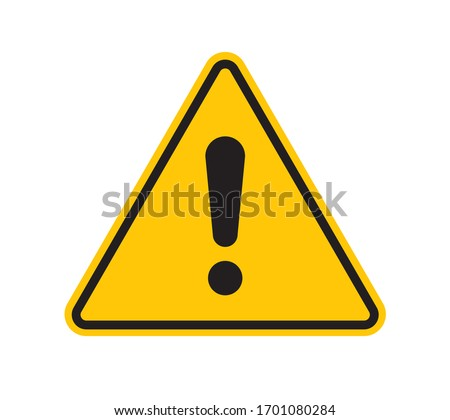 Vector yellow triangle sign - black silhouette exclamation mark. Isolated on white background.