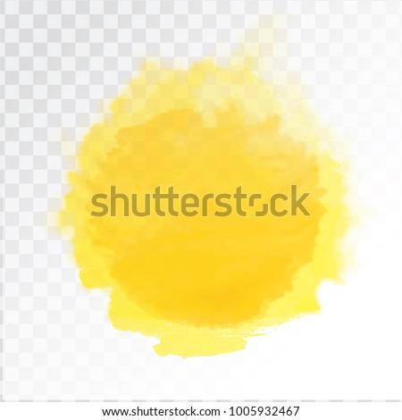 Vector yellow watercolor sun, isolated on transparent background. Illustration.