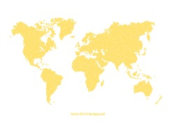 Vector Yellow World Map dotted