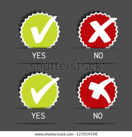 Vector yes no circular label - check mark symbol