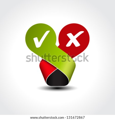 Vector yes no label - check mark symbol - stock vector
