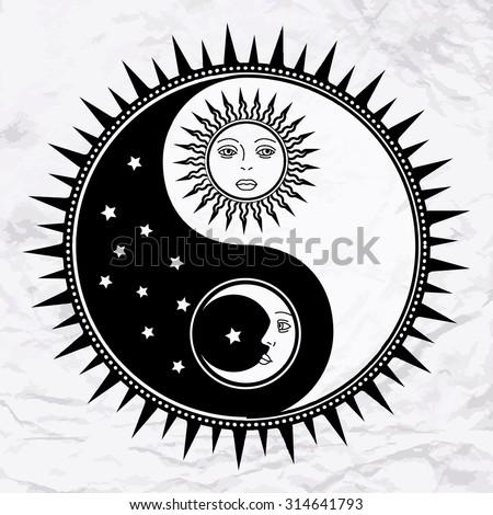 vector yin yang symbol with sun