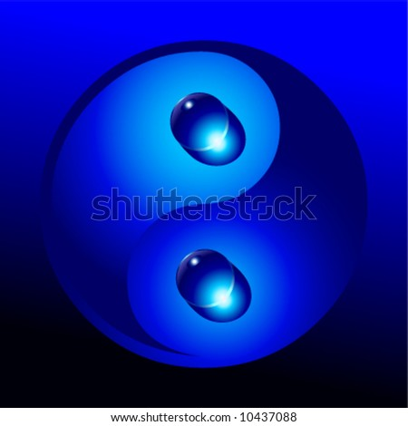 Vector yin yang symbol with water drops - stock vector