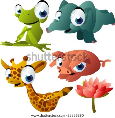 vector yoga animals set 189: frog, elephant, giraffe, pig
