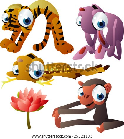 vector yoga animals set 182: tiger, rabbit, deer, monkey