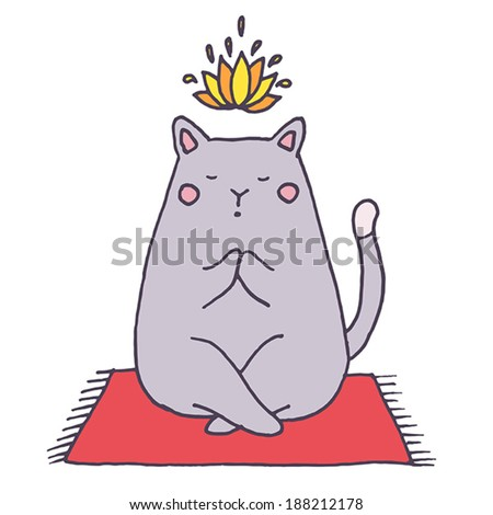 vector yoga cat   hand drawn