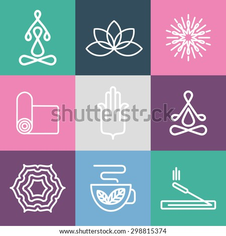Vector yoga icons and line badges. For spa center or yoga studio.