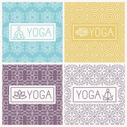Vector yoga icons and line badges - graphic design elements in outline style or logo templates for spa center or yoga studios