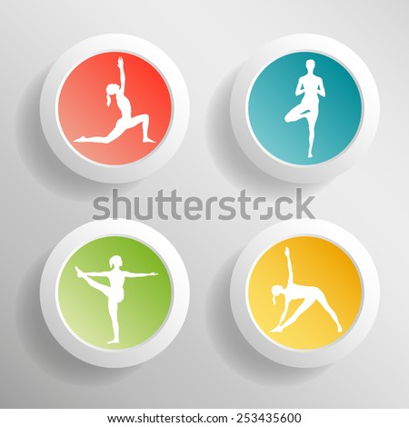 Vector yoga illustration. Circle buttons with girls silhouette. Colorful yoga buttons. Convex buttons with shadows. Green, red, yellow, blue buttons for yoga website.