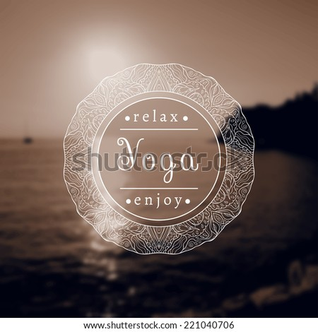 Vector yoga illustration. Name of yoga studio on a black and white background. Yoga class motto. Yoga sticker. Yoga exercises, recreation, healthy lifestyle. Poster for yoga class with a sea view.