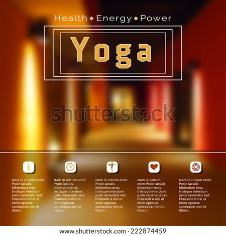 Vector yoga illustration. Name of yoga studio on a city background. Yoga class motto. Yoga sticker with a building. Yoga exercises, recreation, healthy lifestyle. Yoga poster with a city view.