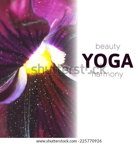 Vector yoga illustration. Name of yoga studio on a floral background. Yoga class motto. Yoga sticker. Yoga poster. Yoga exercises, recreation, healthy lifestyle. Poster for yoga class with a voilet.