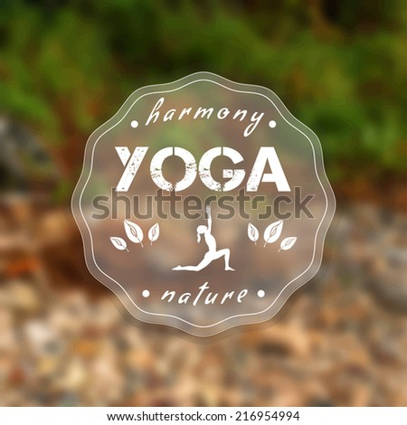 Vector yoga illustration. Name of yoga studio on a nature background. Yoga class motto. Yoga sticker with a green grass and beige stones. Healthy lifestyle. Yoga poster with a natural landscape.
