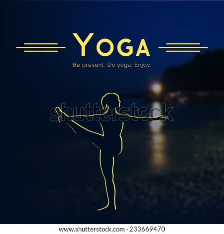 Vector yoga illustration. Name of yoga studio on a night sea background. Yoga class motto. Yoga sticker. Yoga exercises, recreation, healthy lifestyle. Poster for yoga class with a Crimean landscape.