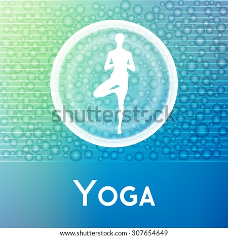 Vector yoga illustration. Name of yoga studio on an abstract background. Yoga sticker.  Yoga exercises for recreation, healthy lifestyle. Poster for yoga class or fitness center, SPA.