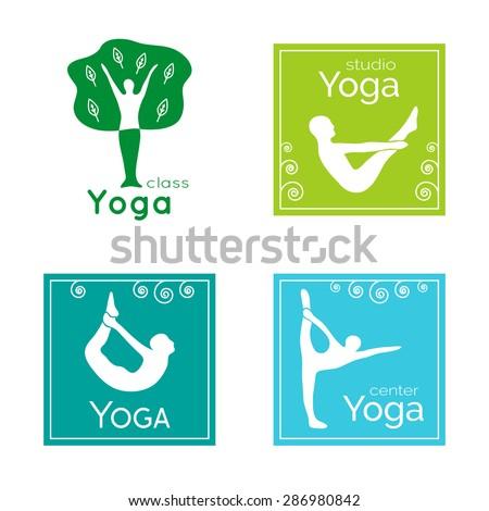 Vector yoga illustration. Set of yoga logos. Silhouettes of people in yoga poses. Design elements for yoga poster. Yoga class, yoga center, yoga studio, spa center. Yoga sticker. Yoga asanas. Ayurveda