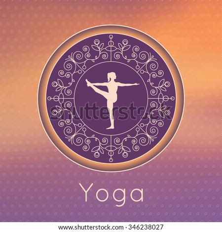 Vector yoga illustration. Yoga poster with floral ornament and yogi silhouette. Identity design for yoga studio, yoga center or class. Template for SPA, beauty salon, ayurveda clinic in luxury style.