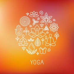 Vector yoga logo - icons and line badges - graphic design elements in outline style for spa center or yoga studio