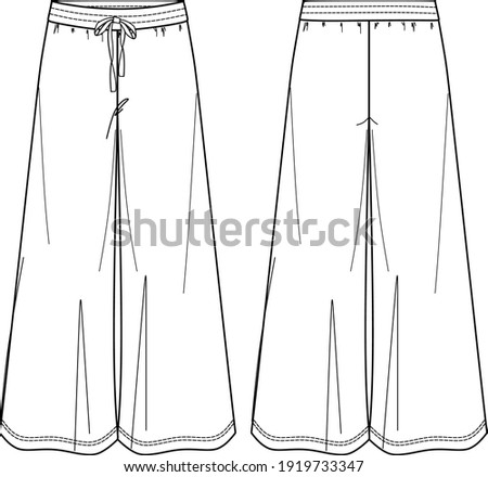 Vector yoga pants technical drawing, woman wide-leg sweatpants fashion CAD, template, sketch Сток-фото ©