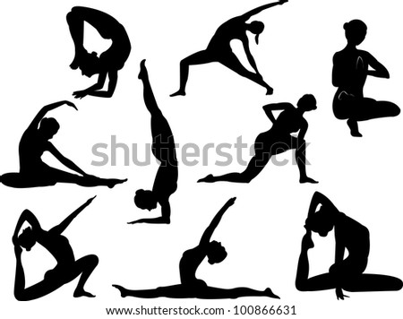 vector yoga silhouettes