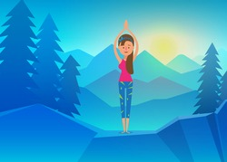 Vector yoga, Young Woman doing Yoga on top of Mountain. Calm and cool environment. Healthy active lifestyle. Digital character illustration.