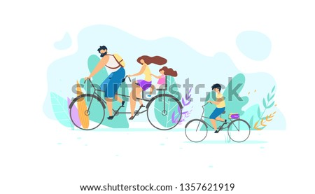 Vector Young Family Riding Bike on Nature. Illustration Young Guy Pedaling. Little Girl Daughter Holding on Mom Active Sport Active Lifestyle Life Position Being in Motion Training in Air.