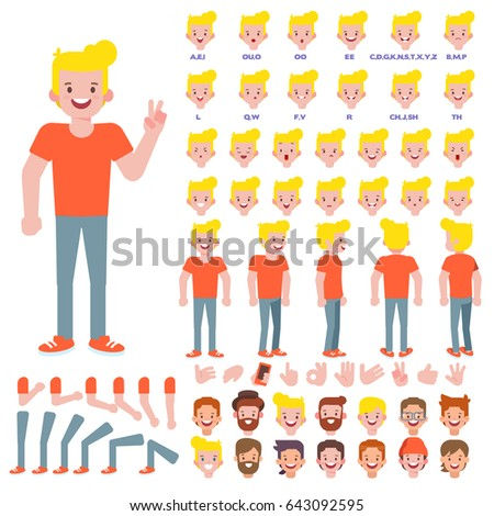 Vector young man character for your scenes. Character creation set with various views, hairstyles, face emotions, lip sync, poses and gestures. Parts of body template animation and design.