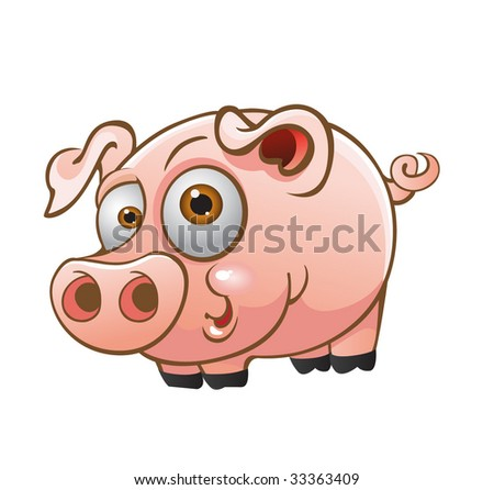 vector young pig