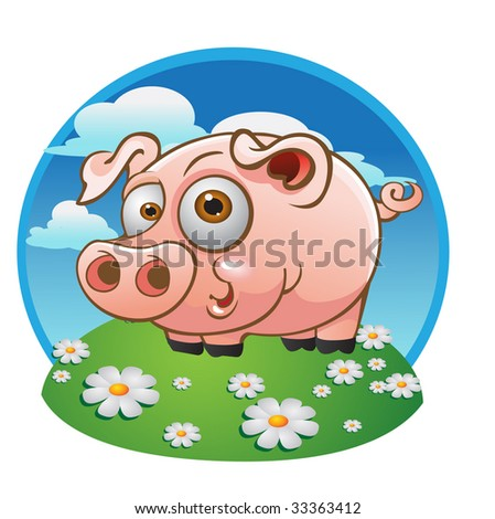vector young pig on the color background
