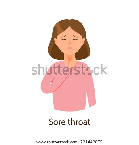 Vector young sick girl suffering from sore throat, holding on her neck. Flat isolated illustration on a white background. Illness and disease symptoms concept