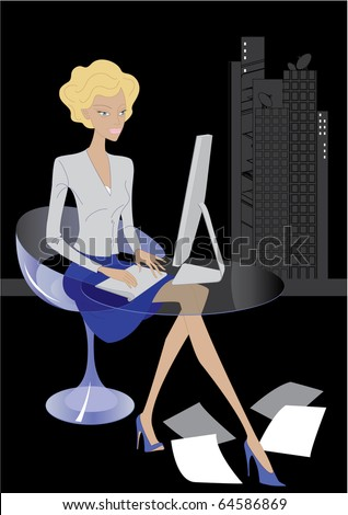 Vector, young woman at working