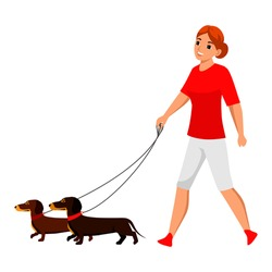 Vector young woman pet owner character walking with dog. Active doggy playing. Lady with canine animal on nature.