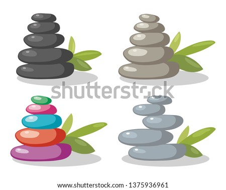 vector zen rock stones stack in balance. set of black, gray and colorful rocks in arrangement with green leaves. smooth stone pebbles spa concept isolated on white background. zen relaxation
