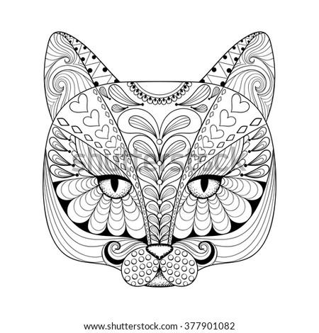 vector zentangle cat print for