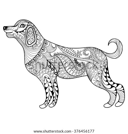 vector zentangle dog print for