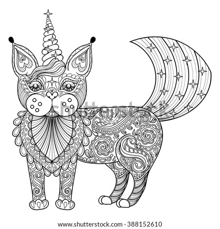 vector zentangle magic cat