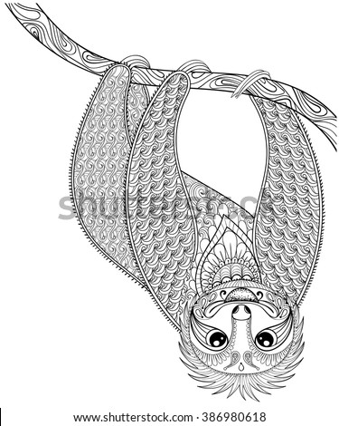 Vector Zentangle Sloth Print For Adult Coloring Page Hand Drawn Isolated Sketch Tattoo