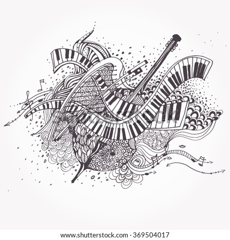 Vector Zentangle stylized abstract Music Background, Collage with musical instruments.  Hand Drawn doodle tribal zenart illustration on white background. Sketch for tattoo. Engraving. #369504017