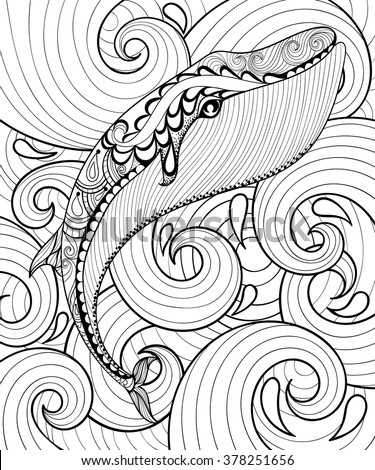 vector zentangle whale in sea