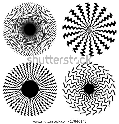 vector - Zig Zag Spirals: collection of four black & white descending spirals created with wavy zig zags. EPS8 organized in groups for easy editing.