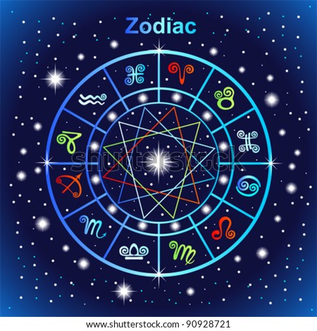 Vector zodiacal circle with zodiac sign